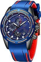 LIGE Men's Watch Waterproof Analog Quartz Watch Classic Blue Silica Gel Multifunction Watch……