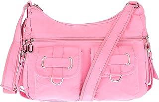 Christian Wippermann Damenhandtasche Schultertasche aus Canvas (Rosa)