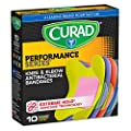 Curad Performance Series Knee and Elbow Extreme Hold Antibacterial Fabric Bandages,