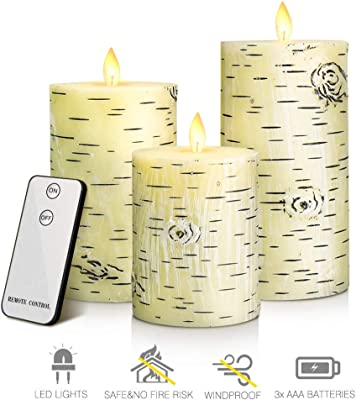 Amazon.com: Kiar Romantic Flameless LED Birch Bark - Juego ...