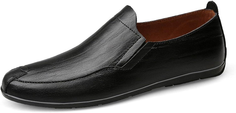 JIALUN-Schuhe Komfortable Flache Absatzmokassins aus echtem Leder Vamp Slip on Driving Style Loafer (Farbe   Schwarz, Größe   43 EU)