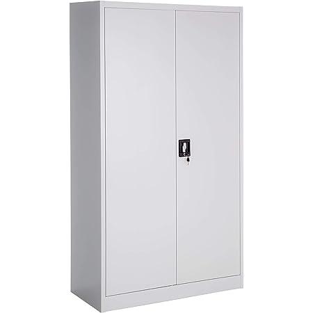 TecTake Armoire de Bureau Metallique avec 2 Porte verrouillable 180x90x40cm Style vestiaire