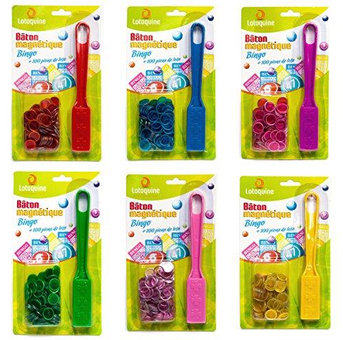 LOTOQUINE Bâton Magnétique Bingo avec 100 Pions BSK1B2 Rouge/Jaune/Vert/Bleu/Rose/Violet