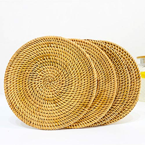 Round Braided Placemats Set of 4 Natural Rattan Handmade Heat Resistant Thick Hot Pads Mats,Rattan Trivets (Diameter 7.87 Inch)
