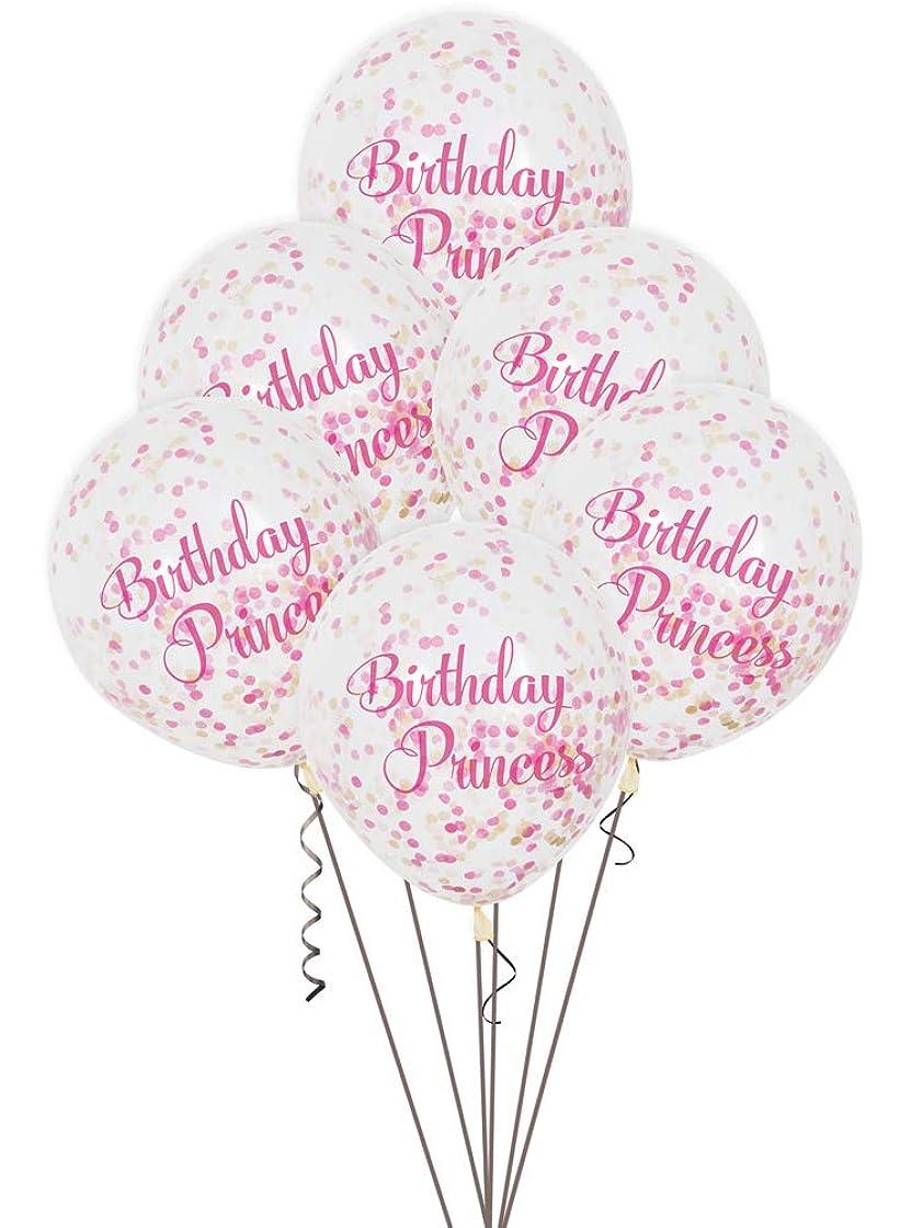 背の高い剥離拘束する12' Pink 6 Pack Birthday Princess Balloon