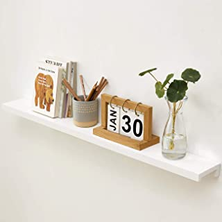 HOMWOO Picture Ledge Long Floating Shelves White Oak Solid Wood Wall Shelf for Home, Living Room, Bedroom, Bathroom, Offic...