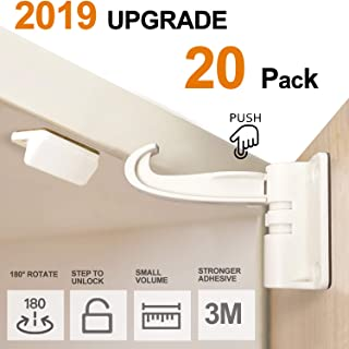 20 Pack Newest Kitchen Cabinet Locks Child Safety Baby Safety Cabinet Locks No Drilling Screws for Latches and Drawers, UPGRADED 3M Adhesives, Invisible Design White