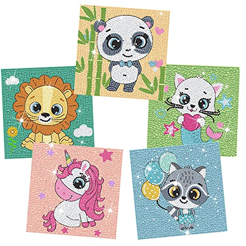 cxwind 5D Diamond Painting Kit- Easy DIY Gem Diamond Painting Crafts Set, Full Painting with Diamond by Number Kits with 5 Animals for Kids Boys Girls Ages 6 - 8 - 10 - 12(No Frame)