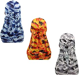 Miltary Camouflage Premium Silky Durags with Long Tail Colorful 360 Waves Cap Doo rag for Men Du-rag (3/4 Packed)