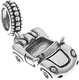 Sterling Silver Luxury Convertible Racing Car European Style Dangle Bead Charm