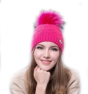 Berretto Cappellino da Donna Cappellino con Due Pompon Fairy Tale Shop Bobble Hats Cappello con PON PON in Vera Pelliccia di Visone Colorato per Donna