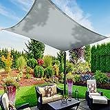 Toldo Vela de Sombra Impermeable, TAOPE 2x3m Toldo Parasol Rectangular, Toldo Vela 95% anti-UV, Material de Tela Oxford, para Actividades al Aire Libre/Jardín/Playa/Patio/Fiesta/Piscina/Pérgola - Gris