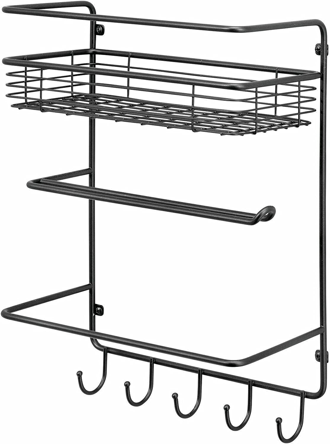 Metal Wall Mount Paper Towel Reservation Holder Storage Memphis Mall with Shelf Hooks -