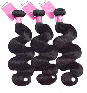 "ISEE Brazilian Virgin Body Wave Human Hair 3 Bundles 100% Unprocessed Human Weave Hair Extensions for Black Women, Natural Black 10""12""14"""