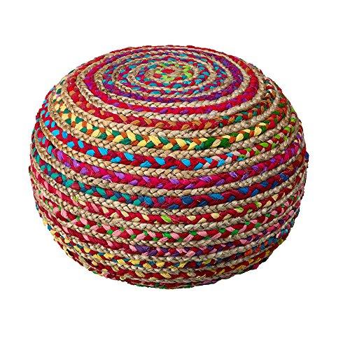 L.R. Resources Boho Beauty Braided Pouf Ottoman