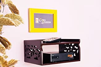 Onlineshoppee Wooden Beautiful Design Set Top Box Wall Shelf Colour-Brown