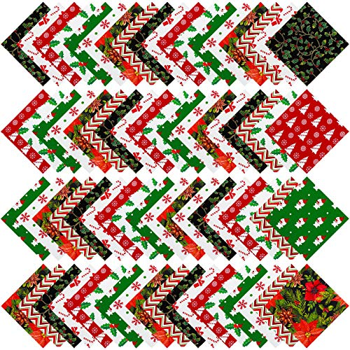 URATOT 72 Pieces Cotton Precut Fabric 8 Different Christmas Printing Random Patterns Quilting Fabric Squares 5.9 Inches Sewing Patchwork Craft Hobby DIY Fabric