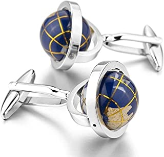 Really Spins Rhodium Plated Blue Globe Earth Cufflinks for Men with a Gift Box