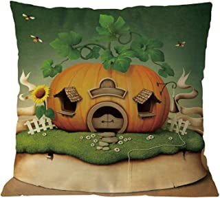TOPBIGGER Fall Pillow Covers Autumn Theme Farmhouse Decorative Throw Pillow Covers 18x18 Inch for Fall Decorations Halloween Theme Pillow Covers Happy Halloween Castle