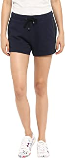 KVL Womens Regular Fit Solid Jogger Shorts - (Navy)