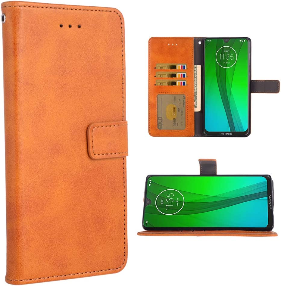 Phone Case for Moto G7/G7+ Plus Folio Flip Wallet Case,PU Leather Credit Card Holder Slots Full Body Protection Kickstand Protective Phone Cover for Motorola G7Plus Moto7 XT1962-1 G 7 7G Brown