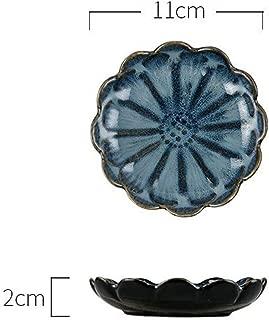 Originality Ceramics Plate Flavor Small Dish Seasoning Dish Food Plate A European Flower Dish Ceramics Tableware White Blue,Discs Are Deep Blue.