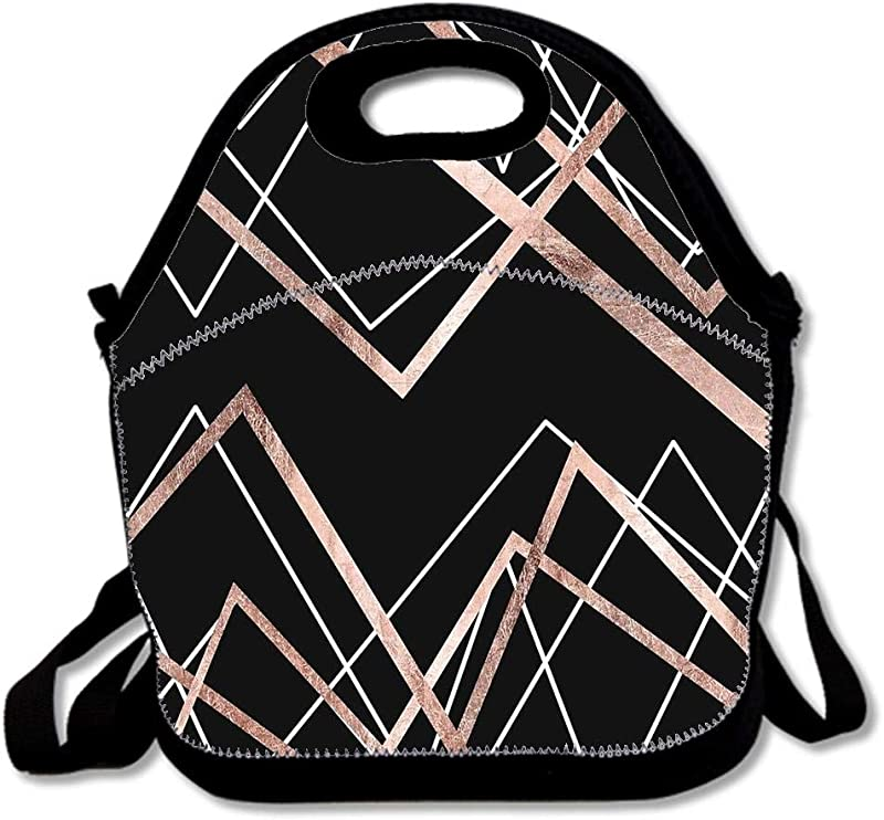 Rose Gold Black Linear Triangle Abstract Pattern Personalized Custom Lunch Bag Neoprene Waterproof Kids Lunch Box Adult Teens Lunch Tote For Outdoor Picnic School Work More