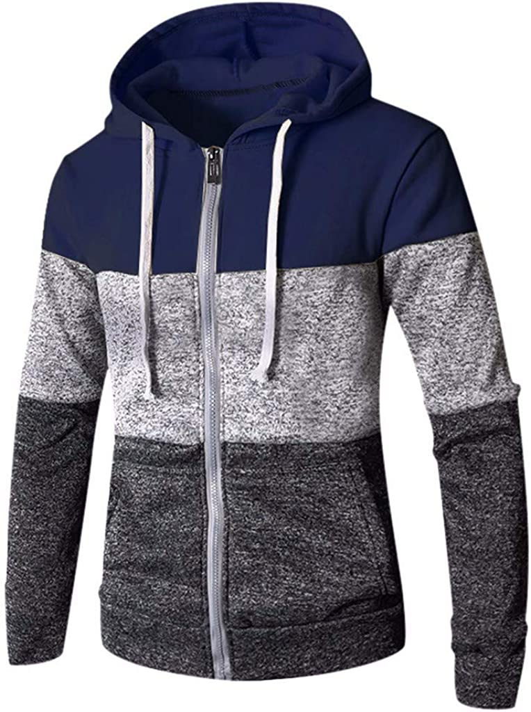 FORUU Mens Sweatshirts Zip up Plus Size,Casual Comfy Fashion Patchwork Long Sleeve Slim Fit Pocket Hoodies Pullover