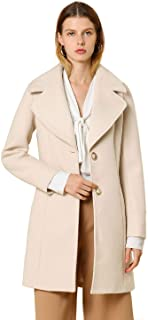 Women's Notched Shawl Collared Buttons Overcoat Single Breasted Long Winter Coat with Pockets