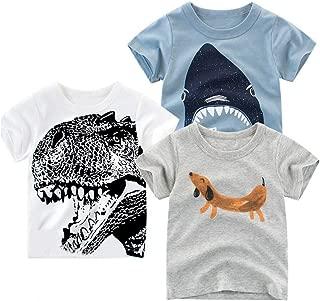 Boys' Toddler & Kid Short Sleeve Crew Neck Animals Graphic T-Shirt Dinosaur Shark Cute 2-6 T