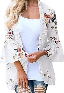 DEELIN Chaqueta De La Chaqueta del Kimono De La Chaqueta Floja De La Tarjeta De La Flor De La Moda De Las Mujeres Ocasionales Florales De La Chaqueta