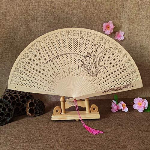 KCGNBQING 1 ventilador hecho a mano para manualidades antiguas, vintage, hueco, incienso de madera, plegable, estilo chino, decoración de tallado, abanico de manivela a mano (color: C)