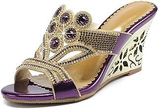 140e17fc5d04 U-MAC Platform Wedge Slides Sandals for Womens Open Toe Rhinestone  Embellished Slip on Party