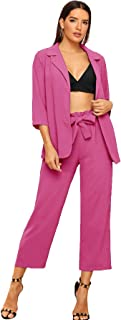 Women's 2 Piece Outfit Notched Neck 3/4 Sleeve Blazer and Wide Leg Belted Pants Set