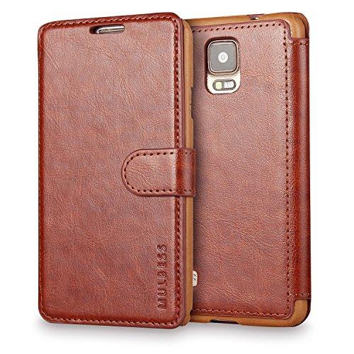 Mulbess Handyhülle für Samsung Galaxy Note 4 Hülle Leder, Layered Dandy Leder Flip Tasche für Samsung Galaxy Note 4 SchutzHülle Leder, Coffee Braun