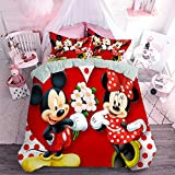 Mickey Minnie Mouse Duvet Cover Bedding Set Microfiber Sheet Set 3 Piece Bed Sheets Microfiber Duvet Set Includes 1 Comforter and 2 Pillow Shams Breathable, Hypoallergenic Light Weight,Full Size