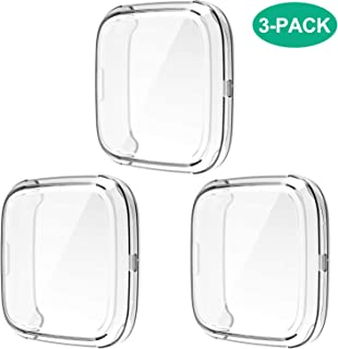 Compatible with Fitbit Versa 2 Case, 3 Pack Full Body Cover Soft TPU Screen Protector Case Anti-Scratch Protective Case for Fitbit Versa 2 Smartwatch