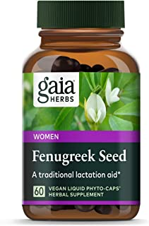 Gaia Herbs Fenugreek Seed, Vegan Liquid Capsules, 60 Count - Lactation Supplement with Organic Fenugreek to Optimize Breas...