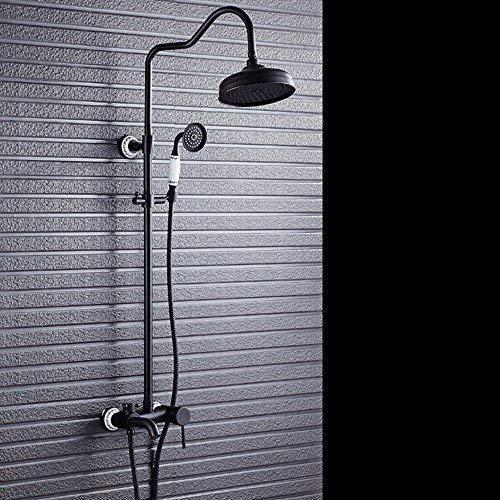 Juego de ducha de cobre completo estilo europeo grifo ducha baño boquilla fría y caliente ducha presurizada