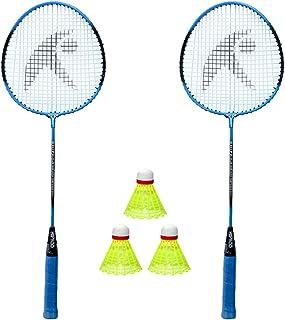 Hipkoo Sports Badminton Racket 2 Set and Pack of 3 Plastic Shuttlecock Strung Badminton Racquet