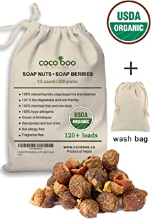 Cocoboo 100% Organic Soap Nuts, Handpicked & Sun Dried, Laundry Soap, Hypoallergenic, Chemical Free, 120+ loads, 1/2 pound