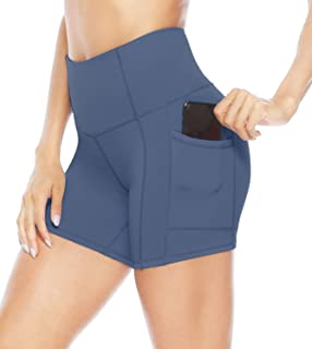 Persit Women's High Waist Workout Yoga Shorts with Side & Inner Pockets, Non See-Through Tummy Control Athletic Shorts