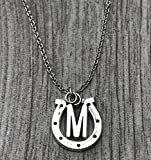 Personalized Horse Necklace with Letter Charm • Pet Horse Jewelry • Racing Horse Pendant • Equestrian Gift Ideas • Horseshoe Charm Necklace
