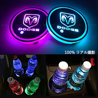 LED Car Cup Holder Lights for Dodge 7 Colors Changing USB Charging Mat Luminescent Cup Pad LED Interior Atmosphere Lamp 2pcs