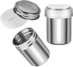 Accmor 2pcs Powder Sugar Shaker Duster, Stainless Steel Powder Sugar Shaker with Lid, Sifter For Cinnamon Sugar Pepper Powder Cocoa Flour