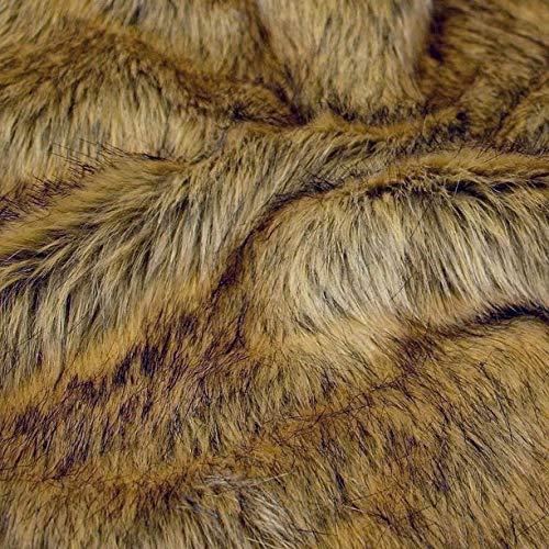 TOLKO 50cm Wolf Kunstfell | kuschelig weiches Fellimitat mit 4cm Florhöhe | Teddy Plüschstoff Webpelz | zum Nähen, Dekorieren und Basteln | Meterware am Stück (Wolf)