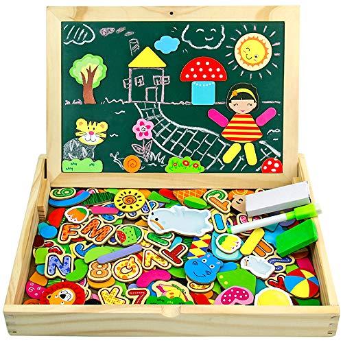 jerryvon Puzzle Magnetico Nios 160 Piezas de Madera Pizarra Magntica Infantil con Rompecabezas Caja Juguete Educativo Puzzle de Animales Regalos Juguetes Nios 3 Aos