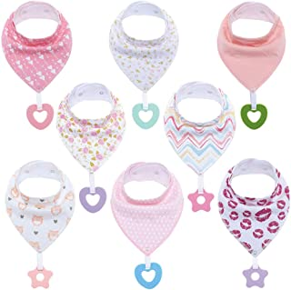 Baby Bandana Drool Bibs Unisex for Teething and Drooling - Super Soft Absorbent Cotton Bibs,Teething Toys Set Toddler Baby Shower Gift for Boys & Girls (8 Pack -2)