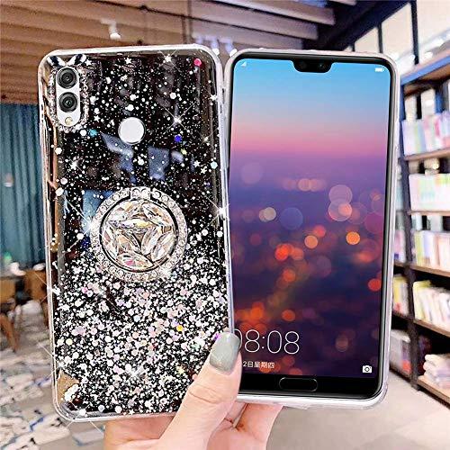 Uposao Kompatibel mit Huawei Honor 8X Hülle Glitzer Mädchen Frauen Diamant Glänzend Strass Bling Schutzhülle Silikon Clear Durchsichtige Hülle Weich TPU Tasche mit Ring Ständer,Schwarz