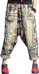 Femmes Taille élastique Sarouel Coton Jeans
